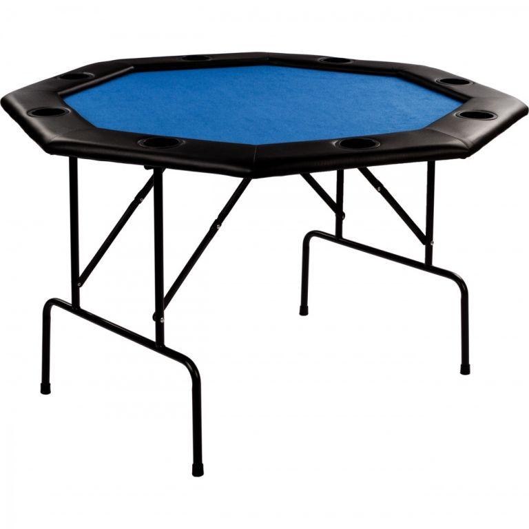 Pokerový skládací stůl modrý, 120 x 120 x 76 cm