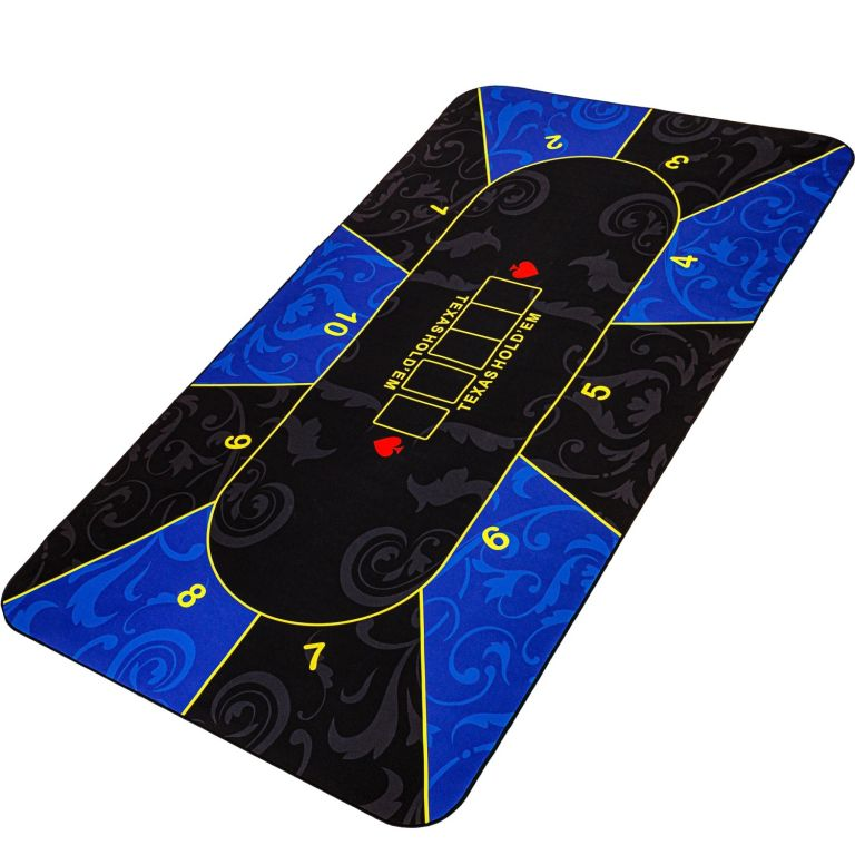 Skládací pokerová podložka, modrá/černá, 200 x 90 cm