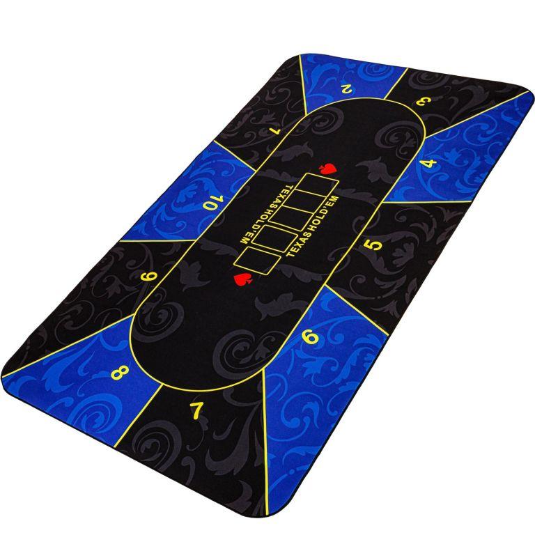Skládací pokerová podložka, modrá/černá, 160 x 80 cm