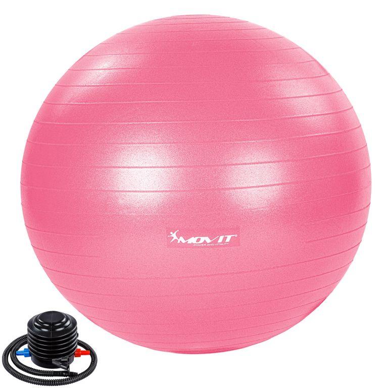 MOVIT Gymnastický míč s nožní pumpou, 65 cm, růžový