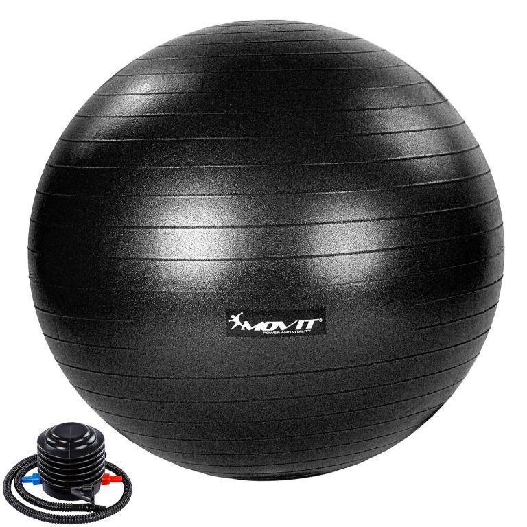 MOVIT Gymnastický míč s nožní pumpou, 65 cm, černý