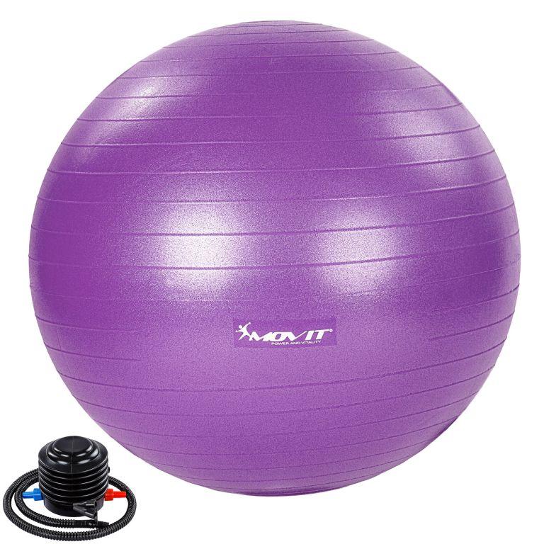 MOVIT Gymnastický míč s nožní pumpou, 65 cm, fialový