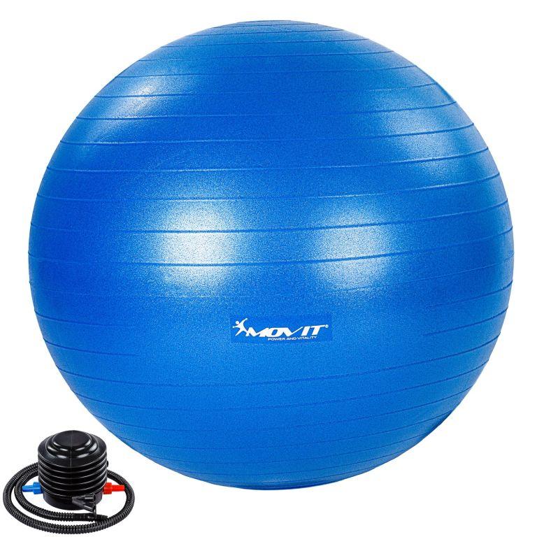 MOVIT Gymnastický míč s nožní pumpou, 75 cm, modrý