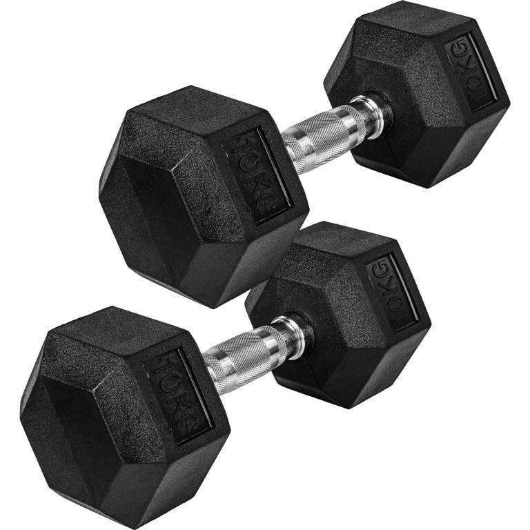MOVIT Šestihranná gumová činka 10 kg sada 2 kusů