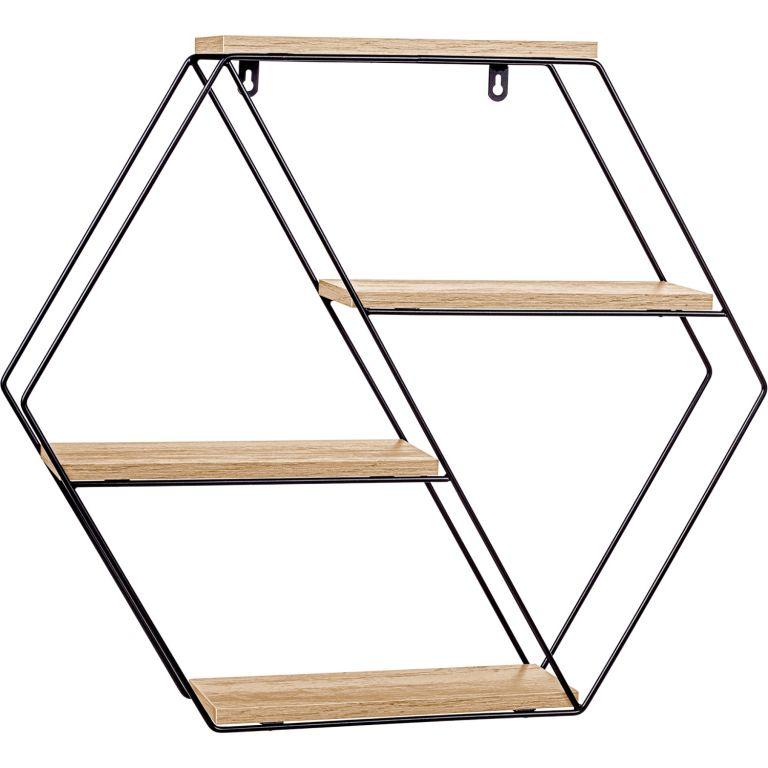 STILISTA Nástěnná šestihranná police, sv. dřevo, 51x58x11 cm