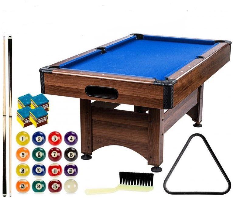 GamesPlanet Kulečníkový stůl 6 ft, hnědo/modrá s vybavením