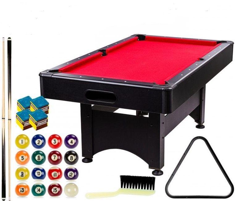 GamesPlanet Kulečníkový stůl 6 ft, černo/červený s vybavením