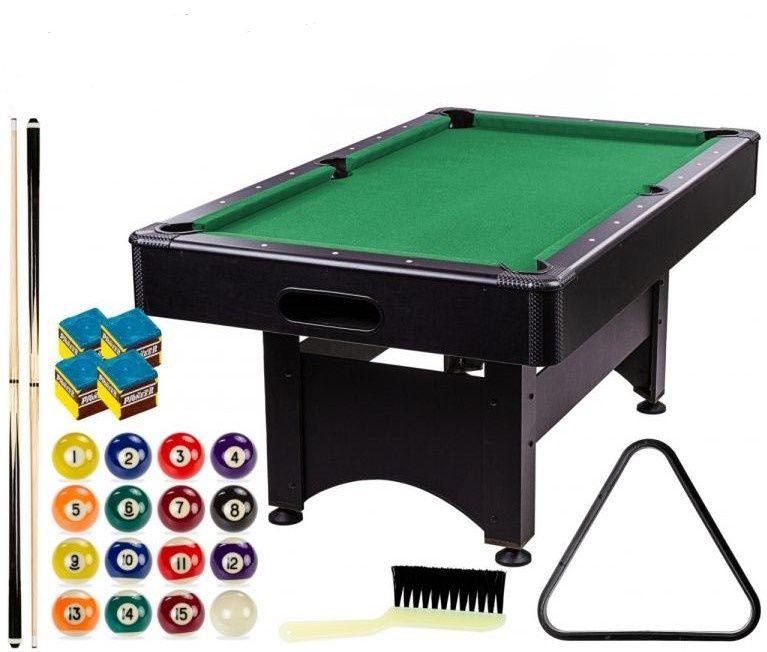 GamesPlanet Kulečníkový stůl 6 ft, černý/zelený s vybavením