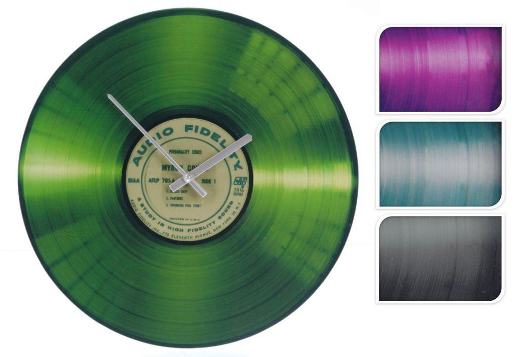 Nástěnné skleněné hodiny v designu vinylové desky - 2 barvy