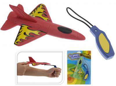 Plastové vystřelovací letadlo na gumě - 2 barvy
