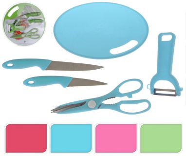 Kuchyňská sada prkénko, nože, škrabka, nůžky - 4 barvy