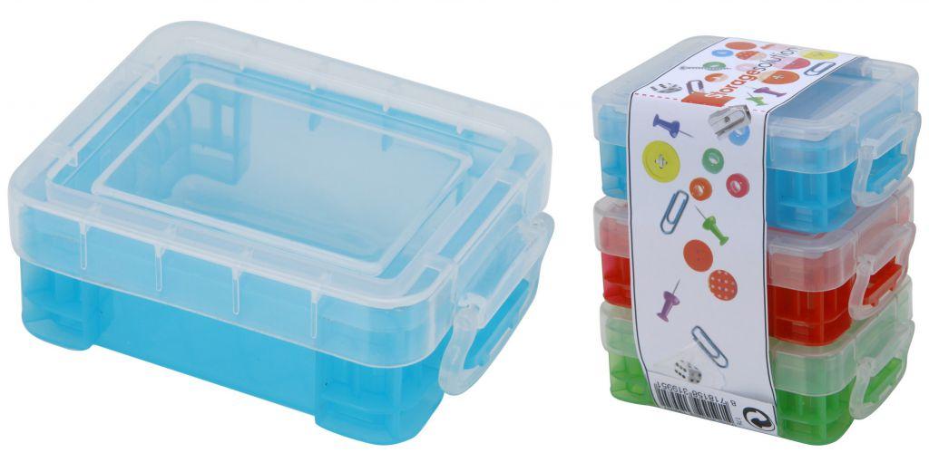 Mini skladovací boxy + víčko klip 3 ks 8 x 6 cm