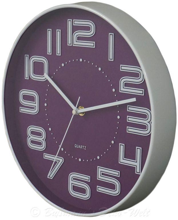 Nástěnné hodiny s reiléfem čísla COLOR 30,5 cm - FIALOVÉ