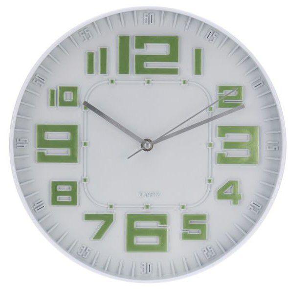 Nástěnné hodiny skleněné RELIÉF 30 cm - ZELENÁ
