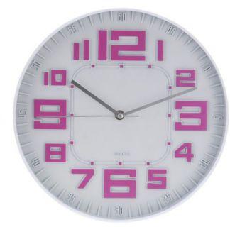 Nástěnné hodiny skleněné RELIÉF 30 cm - RŮŽOVOFIALOVÉ