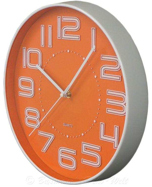 Nástěnné hodiny s reiléfem čísla COLOR 30,5 cm - ORANŽOVÁ