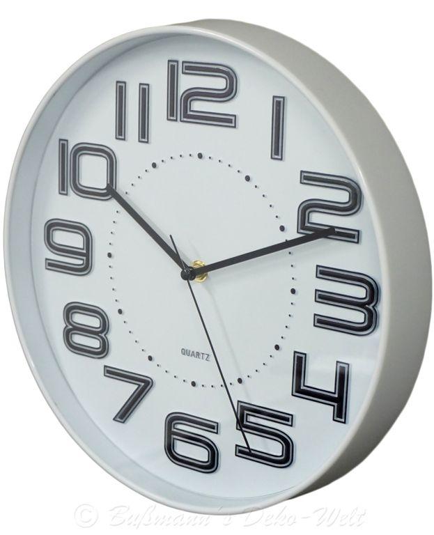 Nástěnné hodiny s reiléfem čísla COLOR 30,5 cm - BÍLÁ