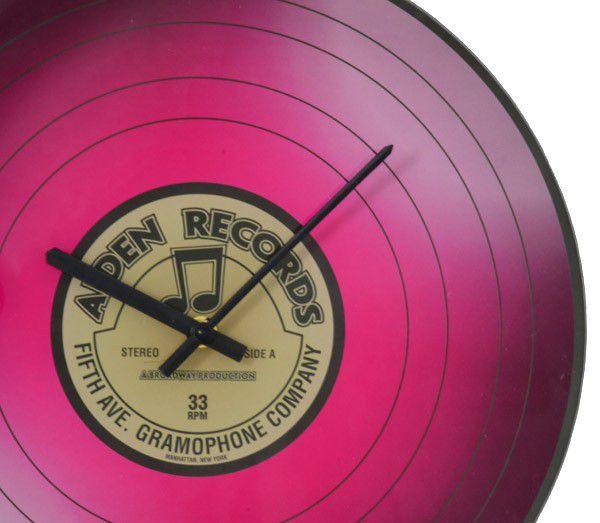 Nástěnné skleněné hodiny VINYL 35 cm - RŮŽOVÉ
