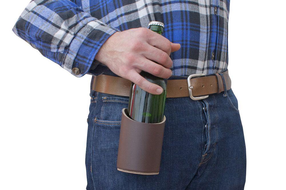 držák piva z kůže (pouzdro s opaskem)