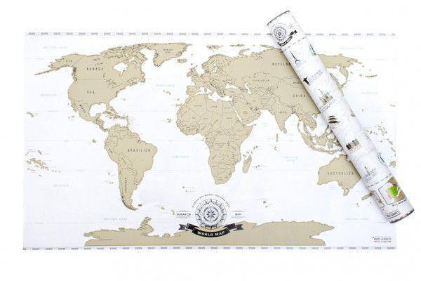 Stírací mapa světa - zlatá