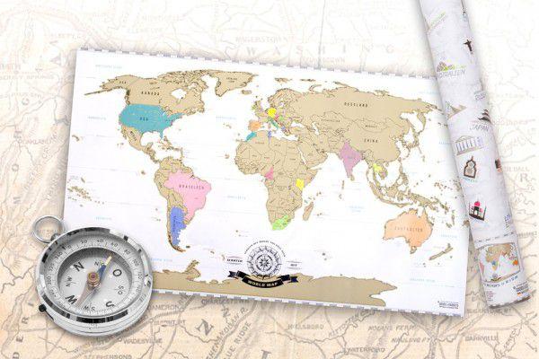 Stírací mapa světa zlatá - 82 x 45 cm