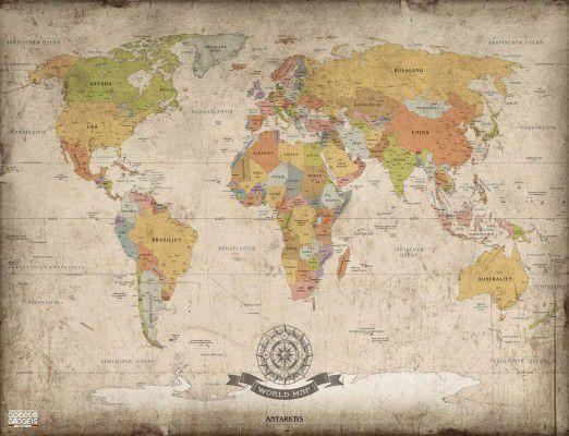 starožitná mapa světa XXL