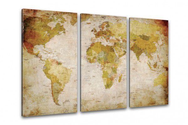 Starožitná mapa světa na plátně 120 x 80 cm