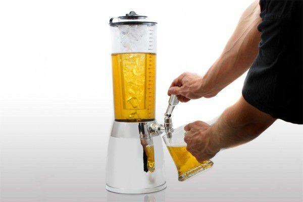 Stojan na pití – pochromovaná pivní věž o objemu 4 litry s kohoutkem