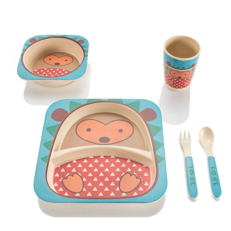 5 dílná sada dětského nádobí z bambusu - ježek