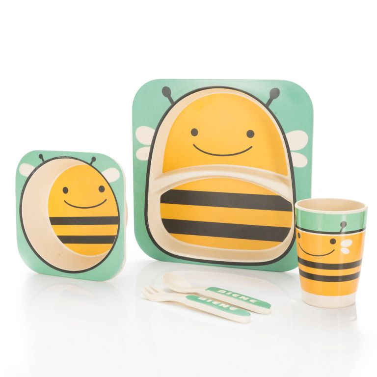 Dětská jídelní sada z bambusu - včela