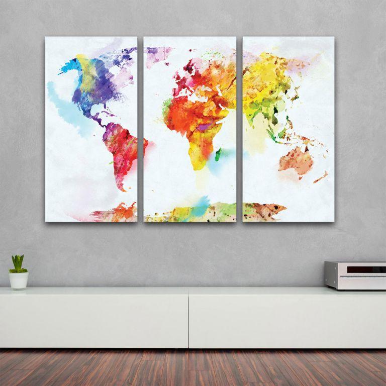Umělecká reprodukce – 3-dílné plátno - mapa světa akvarel