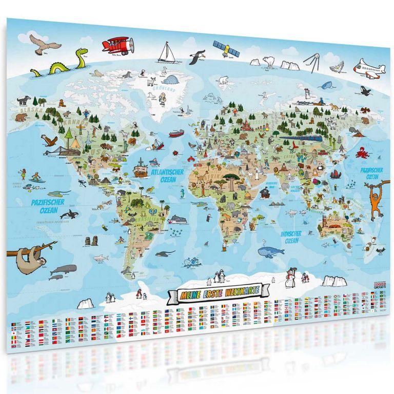 Dětská vzdělávací mapa světa 140 x 100 cm - německý jazyk