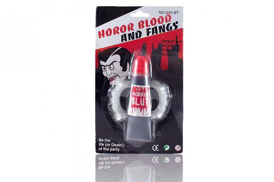 Falešná krev a upíří zuby - halloweenský doplňek