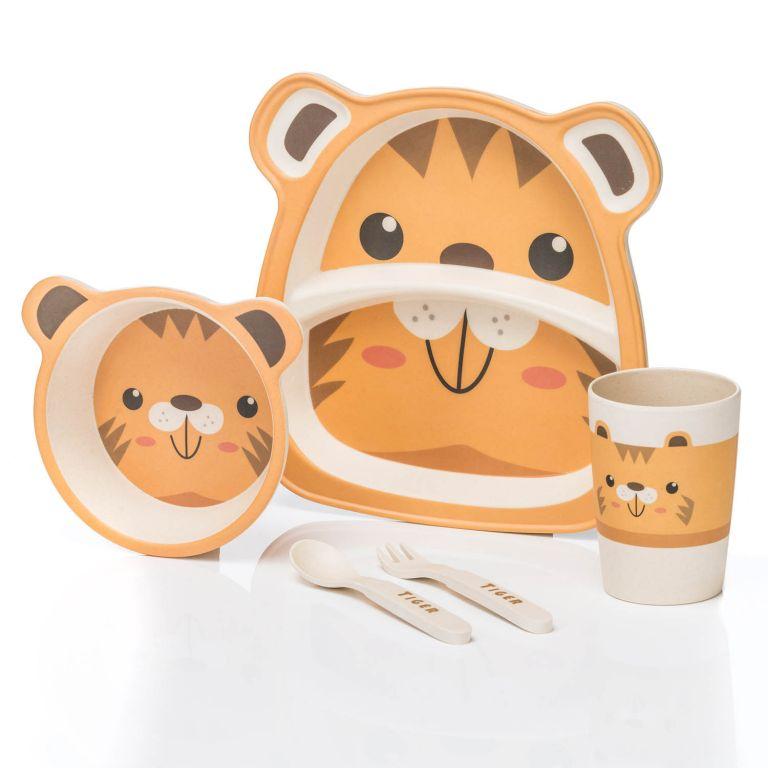 Dětská jídelní sada z bambusu - tygr