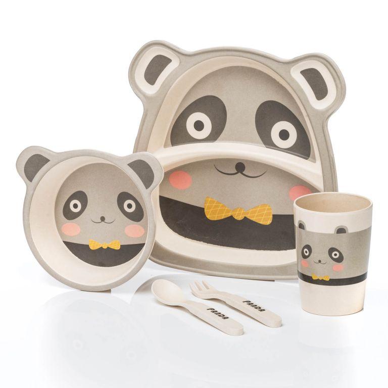 Dětská jídelní sada z bambusu - panda