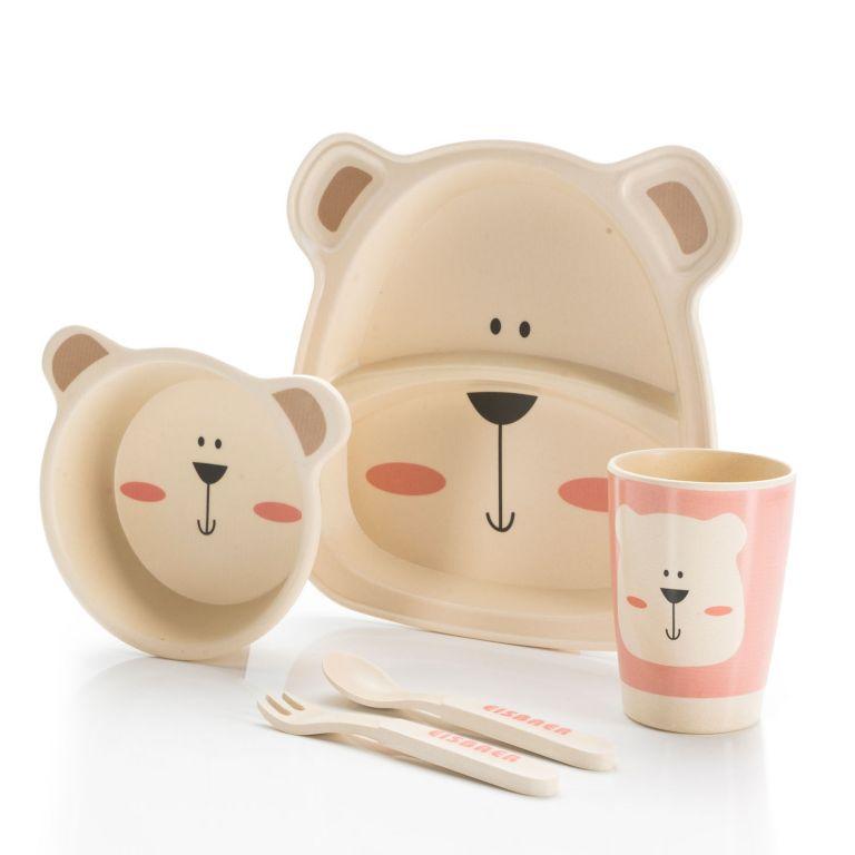 Dětská jídelní sada z bambusu - medvěd