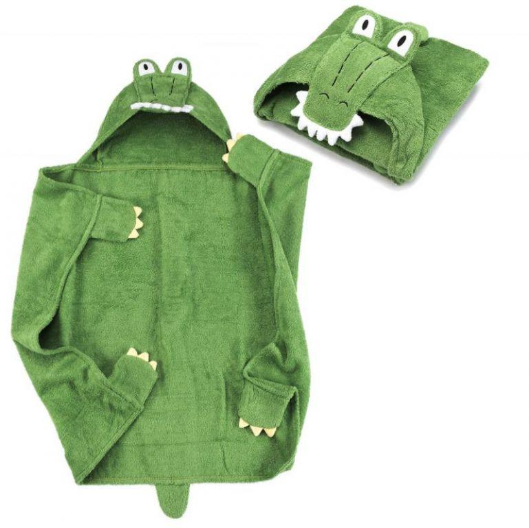 Dětská osuška s kapucí, 76 x 76 cm, krokodýl
