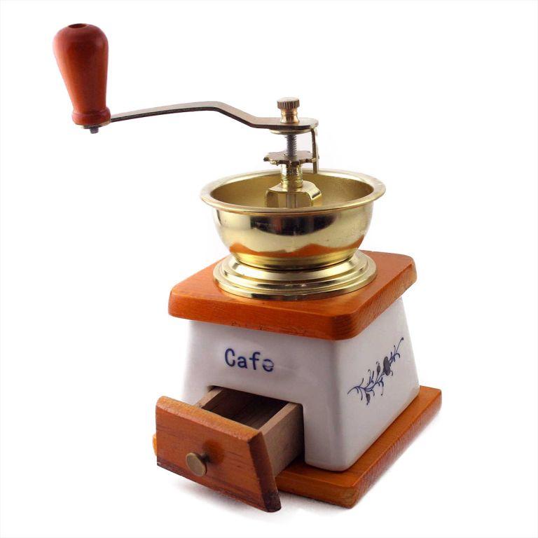 Keramický mlýnek na kávu v retro stylu, 20 x 10 x 10 cm