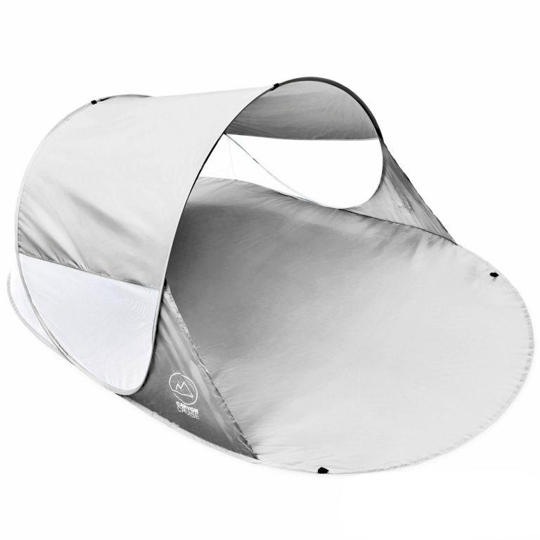 Pop-up stan, přístřešek na pláž, 240 x 140 x 100 cm, šedý