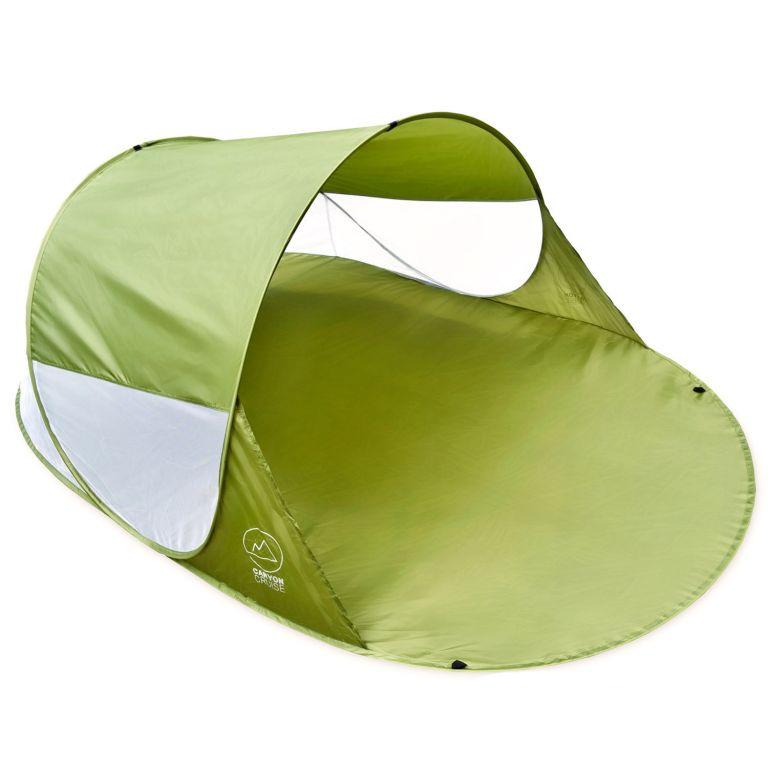 Pop-up stan, přístřešek na pláž, 240 x 140 x 100 cm, zelený