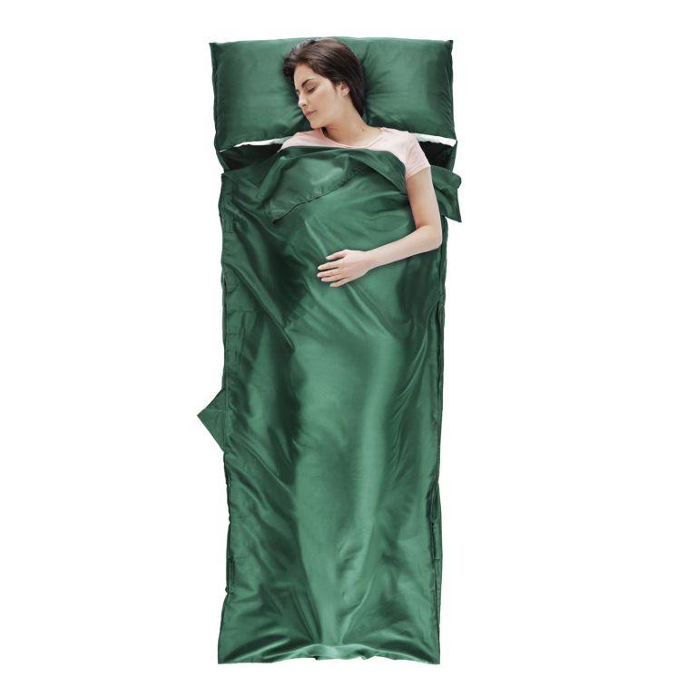 Dekový spací pytel z mikrovlákna, 220 x 80 cm, zelený