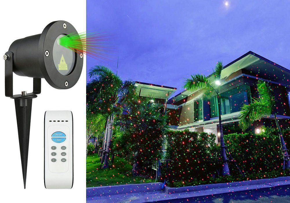 Vánoční laserový projektor - zelená/červená - 20 x 20 m s časovačem