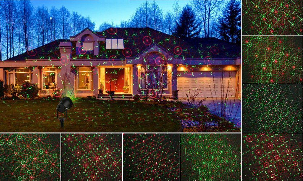 Vánoční laserový projektor - zelená/červená 8 světelných efektů - 20 x 20 m s časovačem
