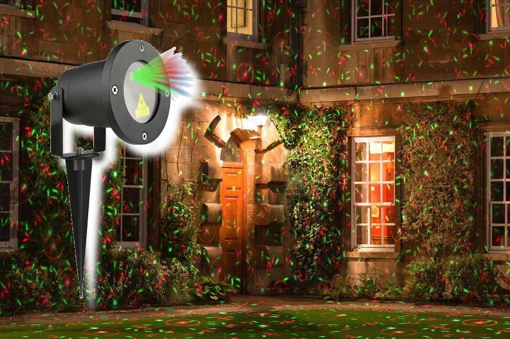 OEM AT53749 Vánoční laserový projektor - zelená/červená 8 světelných efektů - 20 x 20 m s časovačem