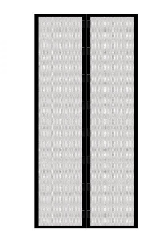 Moskytiéra do dveří s magnetky, 210 x 100 cm, černá