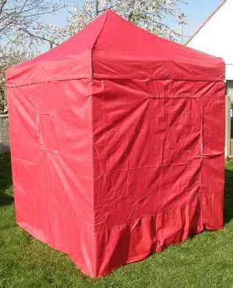 Zahradní párty stan CLASSIC nůžkový + boční stěny – 2 x 2 m červený