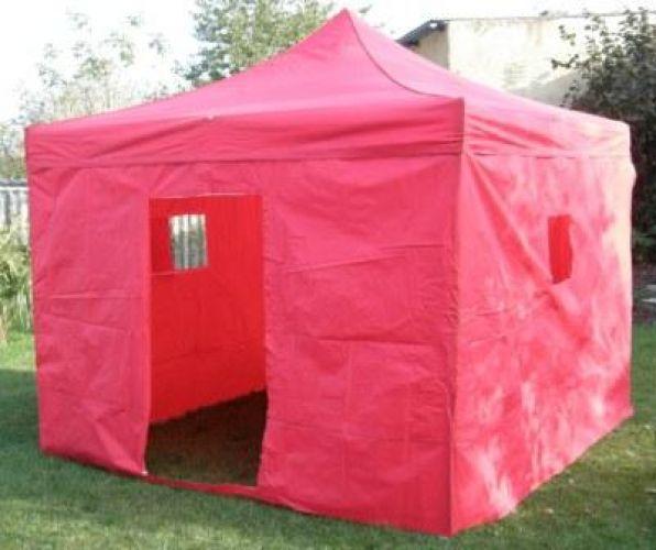 Zahradní párty stan CLASSIC nůžkový + boční stěny II. – 3 x 3 m červený