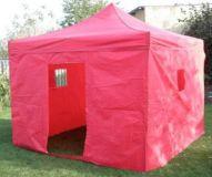 Zahradní párty stan CLASSIC nůžkový + boční stěny II. - 3 x 3 m červený