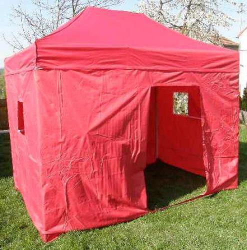 Zahradní párty stan DELUXE nůžkový + boční stěny - 3 x 2 m červený