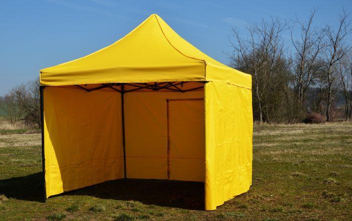 Zahradní párty stan DELUXE nůžkový + boční stěny - 3 x 3 m žlutá